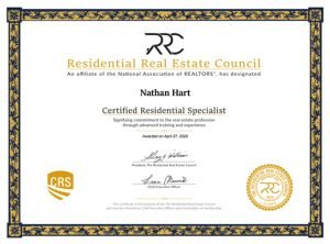 Certified Residential Specialist (CRS) designation certificate