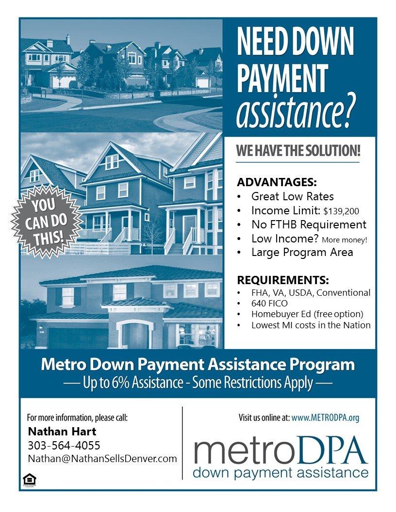 Denver Metro Down Payment Assistance Program (Metro PDA) flyer